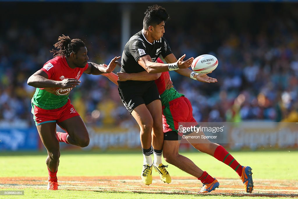 Rieko Ioane of New Zealand is tackled during the 2016 Sydney Sevens match between New Zealand and Portugal at Allianz Stadium on February 6, 2016 in Sydney, Australia.