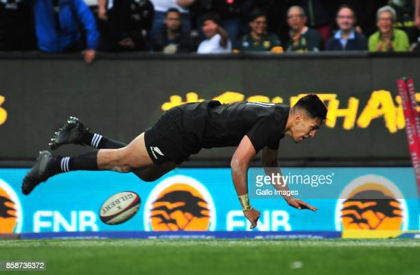 Rieko Ioane of New Zealand scores during the Rugby Championship 2017 match between South Africa and New Zealand at DHL Newlands on October 07 2017 in...