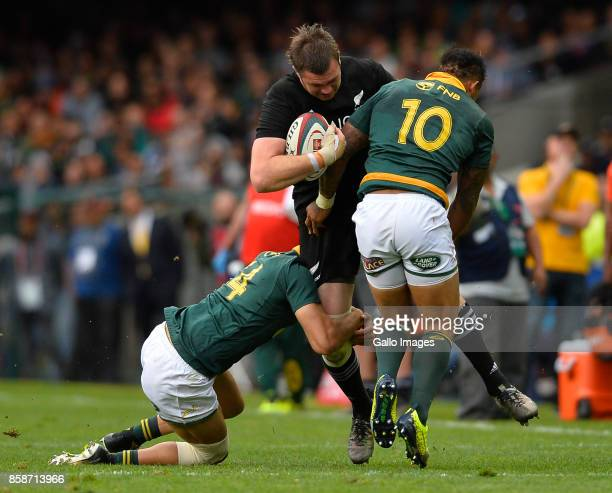 Rieko Ioane of New Zealand tackled by Elton Jantjies of South Africa during the Rugby Championship 2017 match between South Africa and New Zealand at...