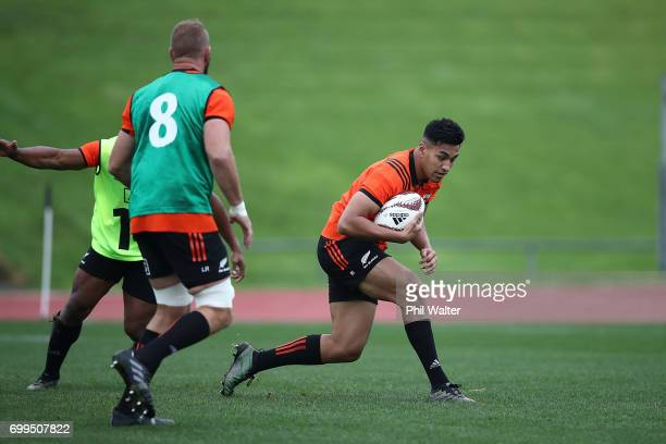 Rieko Ioane of the All Blacks during a New Zealand All Blacks training session at Trusts Stadium on June 22 2017 in Auckland New Zealand