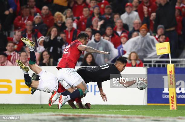 Rieko Ioane of the All Blacks goes over to score his team's second try during the first test match between the New Zealand All Blacks and the British...