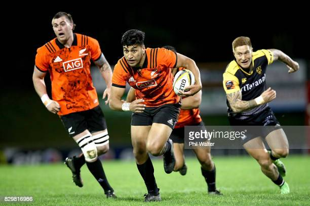 Rieko Ioane of the All Blacks makes a break during the Game of Three Halves between the All Blacks and Taranaki at ECOLight Stadium on August 11 2017...