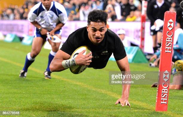 Rieko Ioane of the All Blacks scores a try during the Bledisloe Cup match between the Australian Wallabies and the New Zealand All Blacks at Suncorp...
