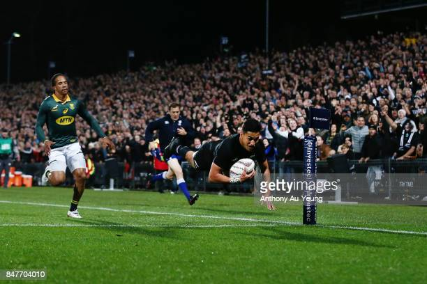 Rieko Ioane of the All Blacks scores a try during the Rugby Championship match between the New Zealand All Blacks and the South African Springboks at...
