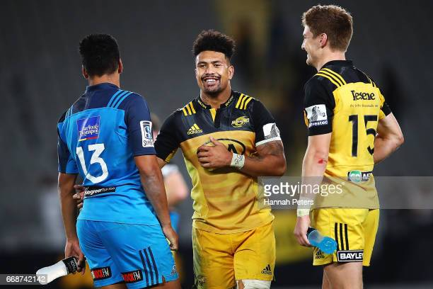 Rieko Ioane of the Blues catches up with Ardie Savea of the Hurricanes and Jordie Barrett the round eight Super Rugby match between the Blues and the...