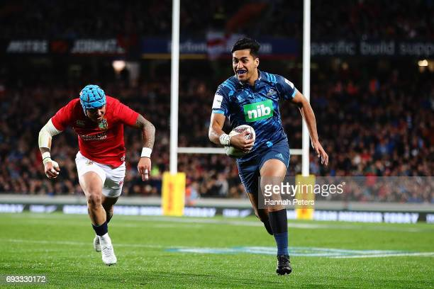 Rieko Ioane of the Blues makes a break during the match between the Auckland Blues and the British Irish Lions at Eden Park on June 7 2017 in...