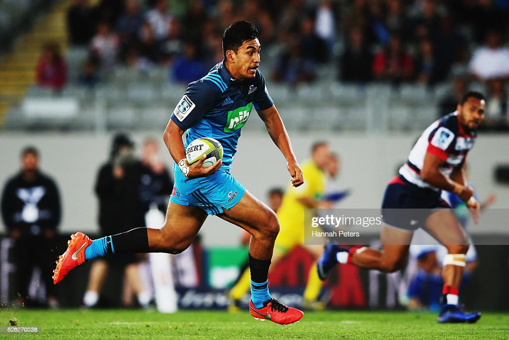 Rieko Ioane of the Blues makes a break during the Super Rugby round ten match between the Blues and the Melbourne Rebels at Eden Park on April 30, 2016 in Auckland, New Zealand.