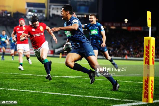 Rieko Ioane of the Blues runs in to score a try during the match between the Auckland Blues and the British Irish Lions at Eden Park on June 7 2017...