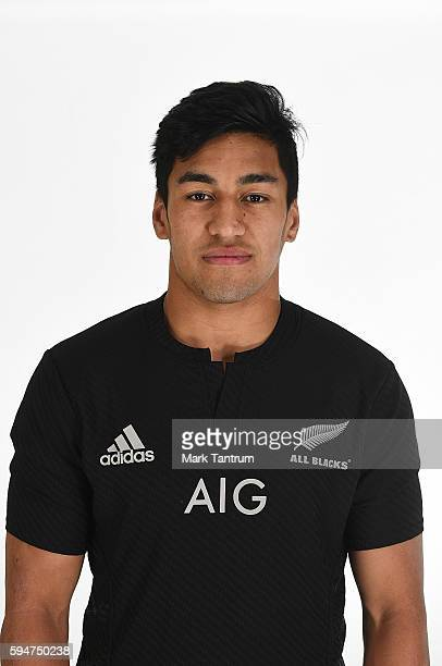 Rieko Ioane poses during a New Zealand All Blacks headshots session at The Intercontinental Hotel on August 24 2016 in Wellington New Zealand