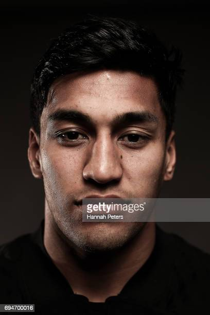 Rieko Ioane poses for a portrait during the New Zealand All Blacks Headshots Session on June 11 2017 in Auckland New Zealand