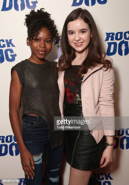 Riele Downs and Aubrey Miller attend a special screening of 'Rock Dog' at Westside Pavilion on February 11 2017 in Los Angeles California