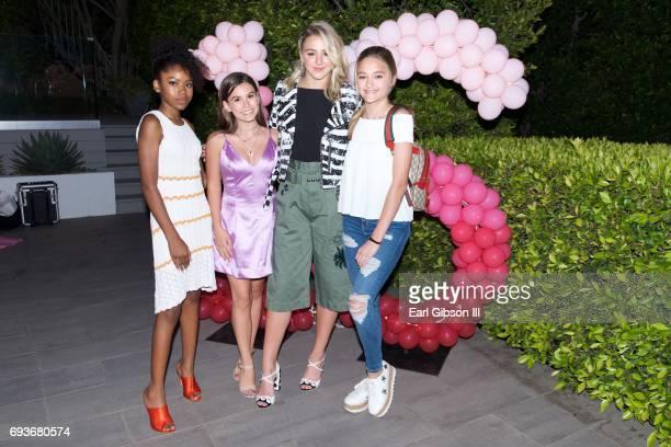 Riele Downs Madisyn Shipman Chloe Lukasiak and Lizzy Greene attend Chloe Lukasiak's Sweet Sixteen Pool Party on June 7 2017 in Los Angeles California
