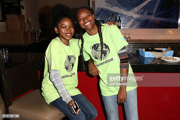 Rielle Downs and Reiya Downs attend the generationOn Hasbro and Pallas Management toy wrapping event on December 11 2016 in Studio City California