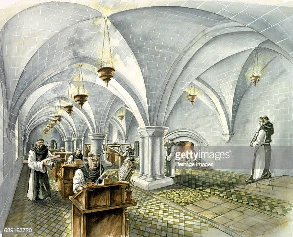 Rievaulx Abbey 13th century Interior view reconstruction drawing of the Day Room in the mid 13th century A former Cistercian abbey in Rievaulx near...