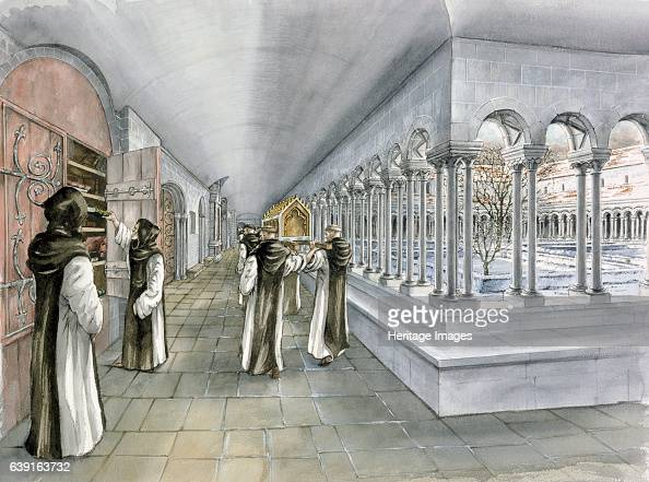 Rievaulx Abbey 13th century Reconstruction drawing of the cloister in the mid 13th century A former Cistercian abbey in Rievaulx near Helmsley in the...
