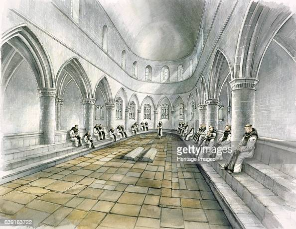 Rievaulx Abbey 14th century Interior view reconstruction drawing of the chapter house in the 14th century A former Cistercian abbey in Rievaulx near...