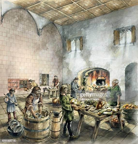 Rievaulx Abbey 14th century North Yorkshire Interior view reconstruction drawing of the refectory kitchen in the 14th century A former Cistercian...