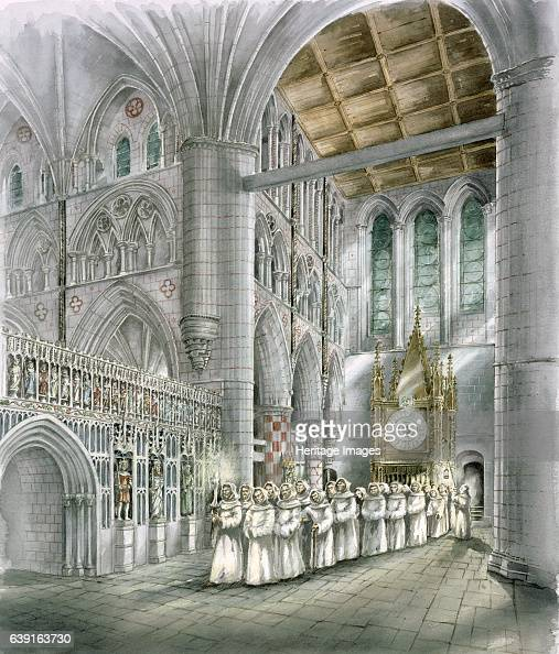 Rievaulx Abbey 15th century Interior view reconstruction drawing of the South transept in the 15th century A former Cistercian abbey in Rievaulx near...