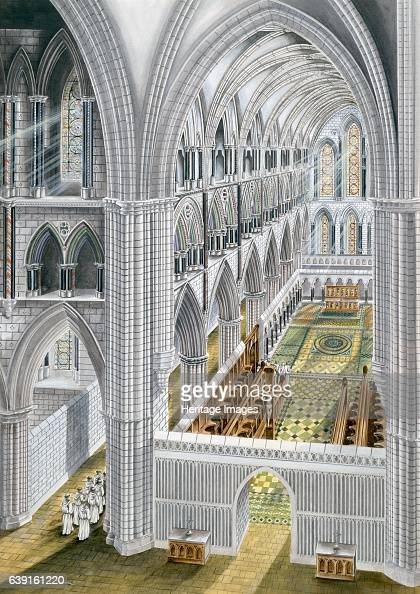 Rievaulx Abbey early 13th century Church interior looking east after rebuilding in the early 13th Century North Yorkshire Reconstruction drawing of...