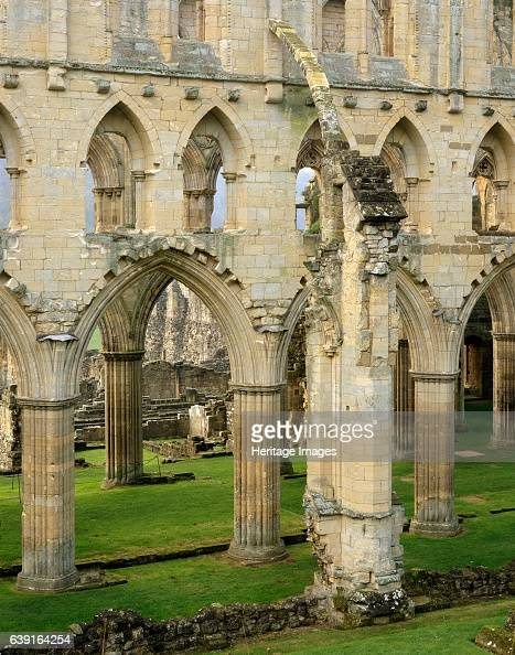 Rievaulx Abbey North Yorkshire c19902010 The arches and buttresses of the north side of the abbey A former Cistercian abbey in the North York Moors...
