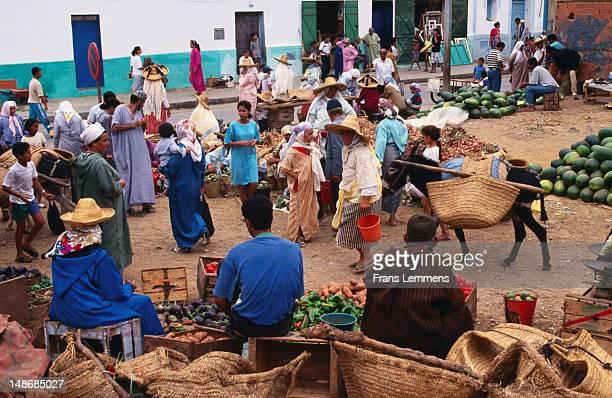Rif Berber people in souk of medina.