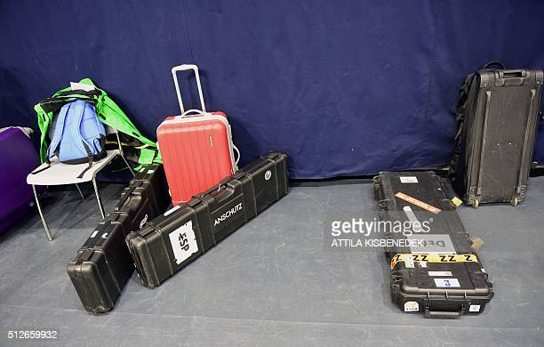 Rifle boxes and bags lie in a corridor of AUDI Arena of Gyor on February 26 2016 prior to the qualification round of 10m air rifle category for women...