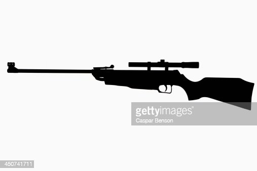 A rifle in silhouette against a white background