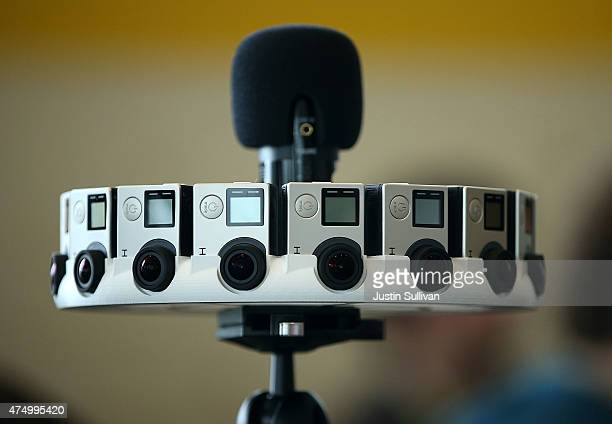 A rig holds 16 GoPro cameras designed for Google Jump during the 2015 Google I/O conference on May 28 2015 in San Francisco California The annual...