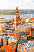 Cityscape aerial view on the old town with Dome cathedral and colorful buildings in Riga, Latvia