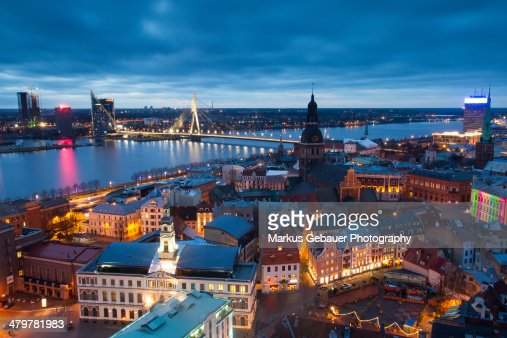 Riga Old Town at Sunset