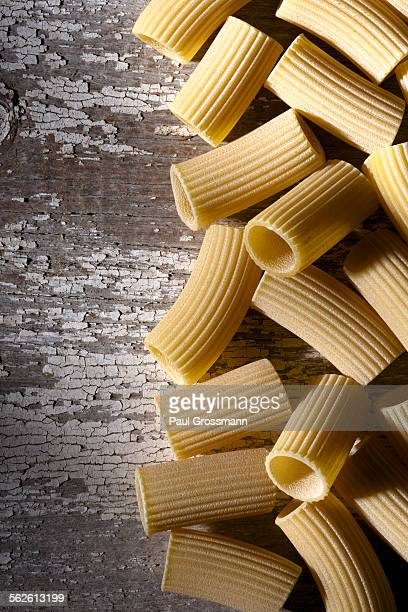 Rigatoni on weathered surface