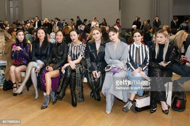 Rigel Davis Tina Leung Aimee Song Chriselle Lim Valentina Ferragni Doina Ciobanu Gala Gonzalez and Danielle Bernstein attend the Nina Ricci show as...