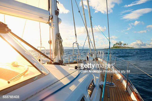 Rigging and sail on yacht deck