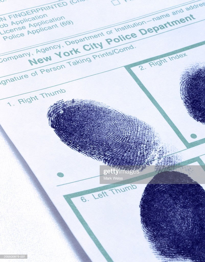 Right and left thumbprints on police blotter : Stock Photo