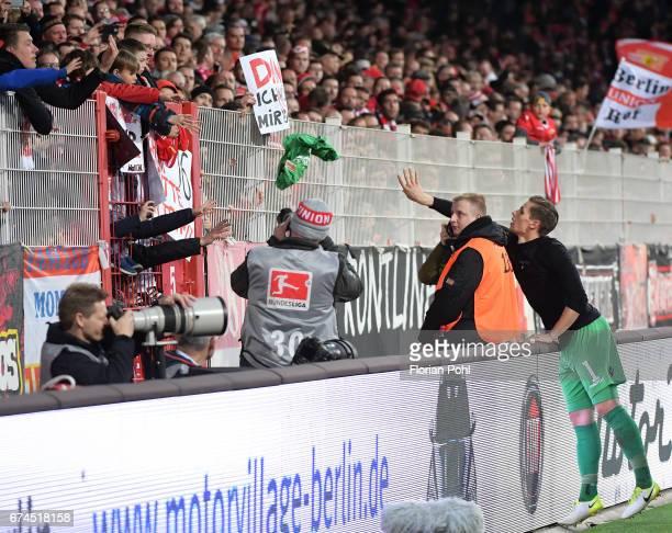 right Daniel Mesenhoeler of 1FC Union Berlin after the game between dem 1 FC Union Berlin and dem SV Sandhausen on april 28 2017 in Berlin Germany