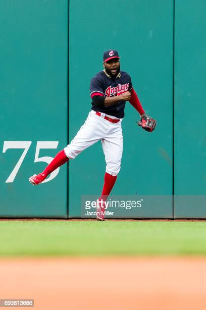 Right fielder Abraham Almonte of the Cleveland Indians reacts after he catches a fly ball hit by Yuli Gurriel of the Houston Astros to end the top of...