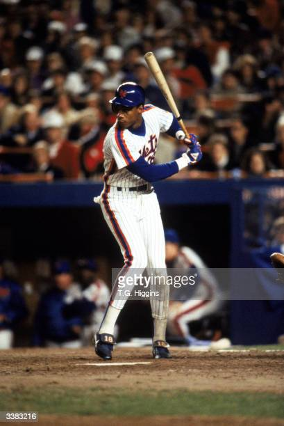 Right fielder Darryl Strawberry of the New York Mets at bat during game 7 of the 1986 World Series against the Boston Red Sox at Shea Stadium on...