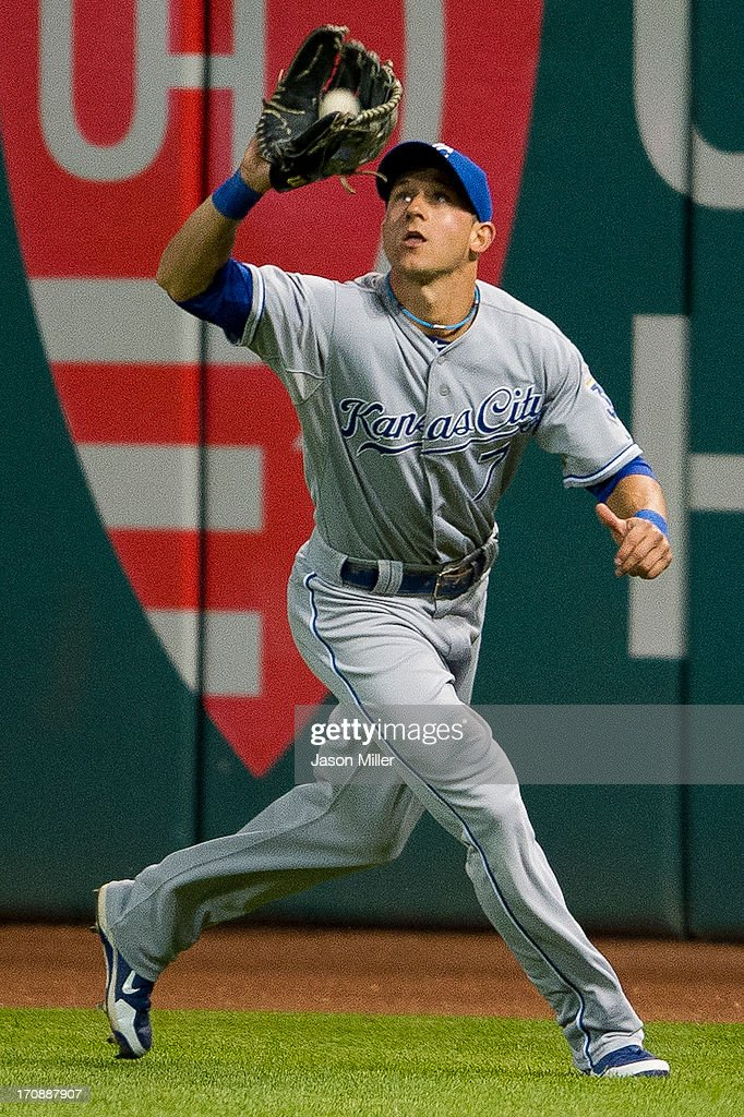 Right fielder <a gi-track='captionPersonalityLinkClicked' href=/galleries/search?phrase=David+Lough&family=editorial&specificpeople=6780100 ng-click='$event.stopPropagation()'>David Lough</a> #7 of the Kansas City Royals catches a sacrifice fly hit by Mike Aviles #4 of the Cleveland Indians during the seventh inning at Progressive Field on June 19, 2013 in Cleveland, Ohio.