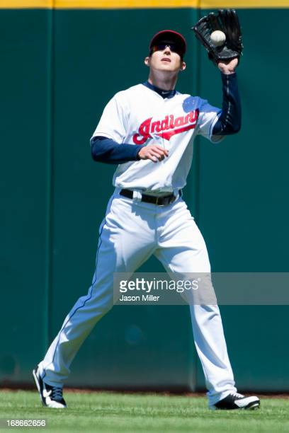 Right fielder Drew Stubbs of the Cleveland Indians catches a fly ball hit by Alberto Gonzalez of the New York Yankees during the fifth inning during...
