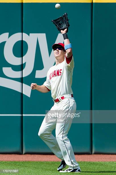 Right fielder Drew Stubbs of the Cleveland Indians catches a fly ball hit by Ian Desmond of the Washington Nationals during the ninth inning at...