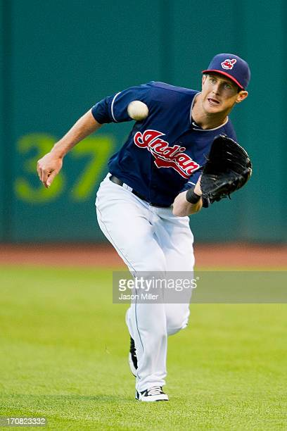 Right fielder Drew Stubbs of the Cleveland Indians catches a fly ball hit by Lorenzo Cain of the Kansas City Royals during the sixth inning at...