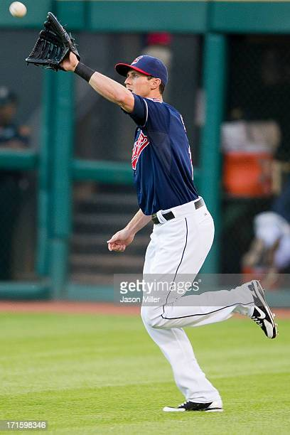 Right fielder Drew Stubbs of the Cleveland Indians catches a fly ball hit by David Lough of the Kansas City Royals during the fourth inning at...
