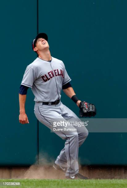 Right fielder Drew Stubbs the Cleveland Indians watches a home run hit by Don Kelly of the Detroit Tigers in the sixth inning at Comerica Park on...