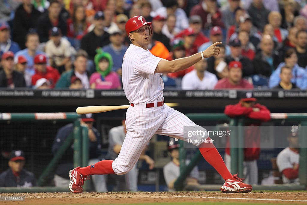 Right fielder <a gi-track='captionPersonalityLinkClicked' href=/galleries/search?phrase=Hunter+Pence&family=editorial&specificpeople=757341 ng-click='$event.stopPropagation()'>Hunter Pence</a> #3 of the Philadelphia Phillies bats during a game against the Washington Nationals at Citizens Bank Park on May 21, 2012 in Philadelphia, Pennsylvania.