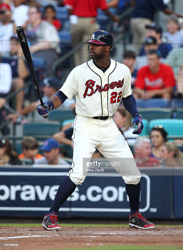 Right fielder <a gi-track='captionPersonalityLinkClicked' href=/galleries/search?phrase=Jason+Heyward&family=editorial&specificpeople=5043351 ng-click='$event.stopPropagation()'>Jason Heyward</a> #22 of the Atlanta Braves gets set in the batter's box during the game against the Philadelphia Phillies at Turner Field on September 1, 2012 in Atlanta, Georgia.