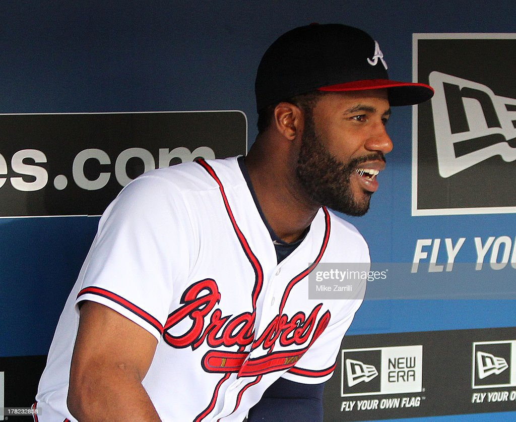 Right fielder <a gi-track='captionPersonalityLinkClicked' href=/galleries/search?phrase=Jason+Heyward&family=editorial&specificpeople=5043351 ng-click='$event.stopPropagation()'>Jason Heyward</a> #22 of the Atlanta Braves sits in the dugout during the game against the Cleveland Indians at Turner Field on August 27, 2013 in Atlanta, Georgia. Heyward was hit in the face with a pitch during a previous game and is currently on the disabled list.