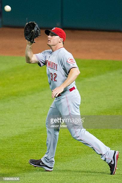 Right fielder Jay Bruce of the Cincinnati Reds catches a fly ball hit by Drew Stubbs of the Cleveland Indians during the eighth inning at Progressive...