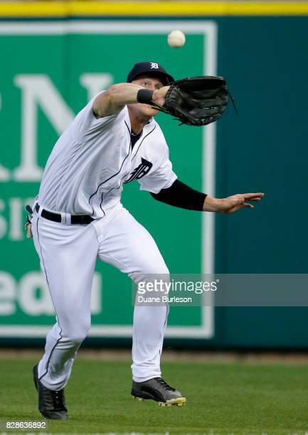 Right fielder Jim Adduci of the Detroit Tigers catches a fly ball hit by Francisco Cervelli of the Pittsburgh Pirates for an out during the fifth...