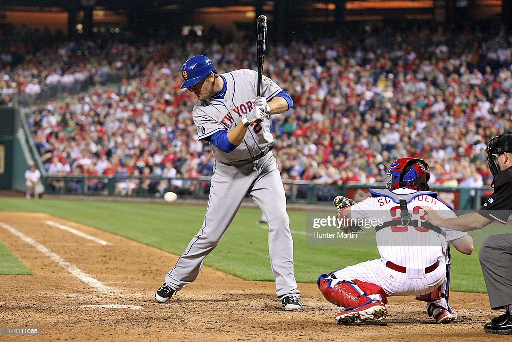 Right fielder <a gi-track='captionPersonalityLinkClicked' href=/galleries/search?phrase=Lucas+Duda&family=editorial&specificpeople=7172550 ng-click='$event.stopPropagation()'>Lucas Duda</a> #21 of the New York Mets is hit by a pitch during a game against the Philadelphia Phillies at Citizens Bank Park on May 9, 2012 in Philadelphia, Pennsylvania.
