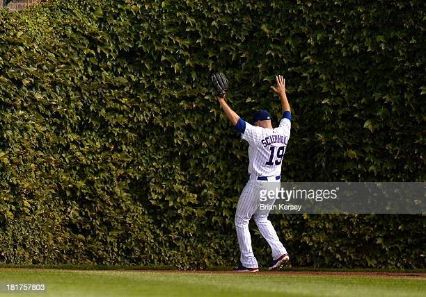 Right fielder Nate Schierholtz of the Chicago Cubs throws up his hands after he loses an RBI groundrule double hit by Pedro Alvarez of the Pittsburgh...